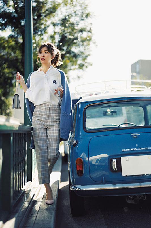 【5】ポロ ラルフ ローレンの白シャツ×チェックパンツ