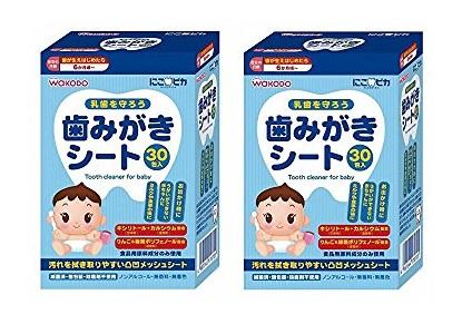 赤ちゃん用歯磨き粉おすすめすすぎ不要シートタイプジェルタイプうがいペーストタイプ 和光堂 にこピカ 歯みがきシートベビー 30包