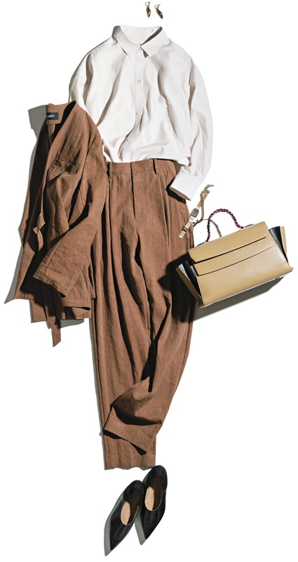 【4】ブラウンジャケット×ベージュシャツ×ブラウンパンツ