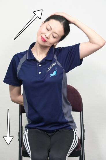 首から肩、肩甲骨の筋肉を伸ばすストレッチ