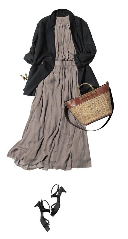 【5】黒ジャケット×カーキブラウス×スカートのセットアップ
