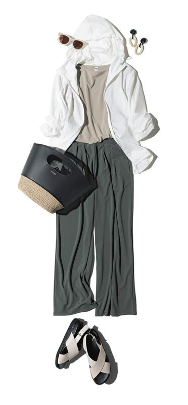 【1】白ブルゾン×ベージュシャツ×カーキワイドパンツ×サンダル