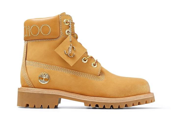 JIMMY CHOO TIMBERLAND コレクション コラボレーション 6インチ ブーツ 新作  6 インチ プレミアム ウィート ブーツ ウィズ ゴールド グリッター ウィメンズ