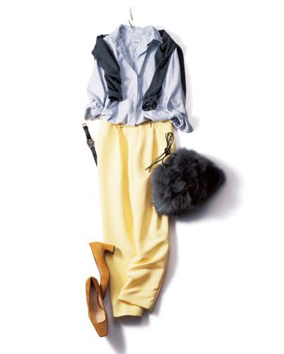 【4】グレーカーディガン×黄色パンツ×ライトグレーシャツ