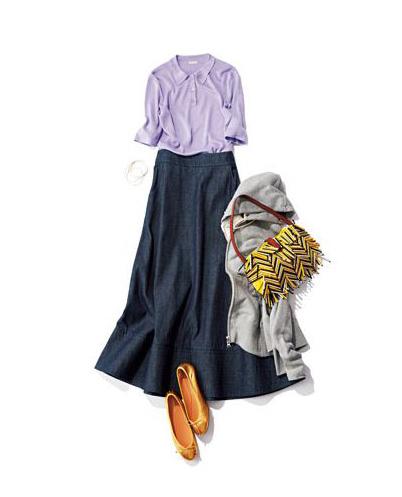 【1】グレーパーカ×パープルポロシャツ×デニムロングスカート