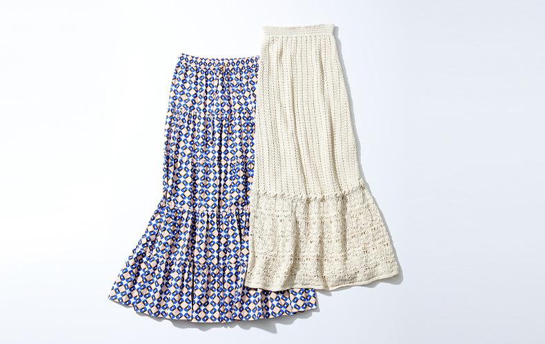 ZARAザラロングスカートティアードスカートクロシェ編みスカートプリントスカートマキシスカート