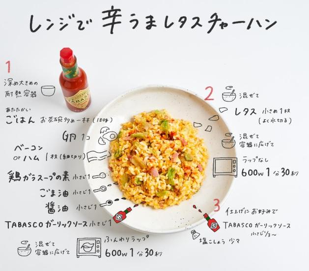 タバスコ タバスコアレンジレシピ アレンジレシピ 残りもの レンジで 残りものレシピ レタスチャーハン